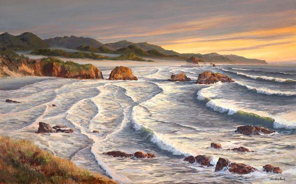 Golden Evening - Cannon Beach Art