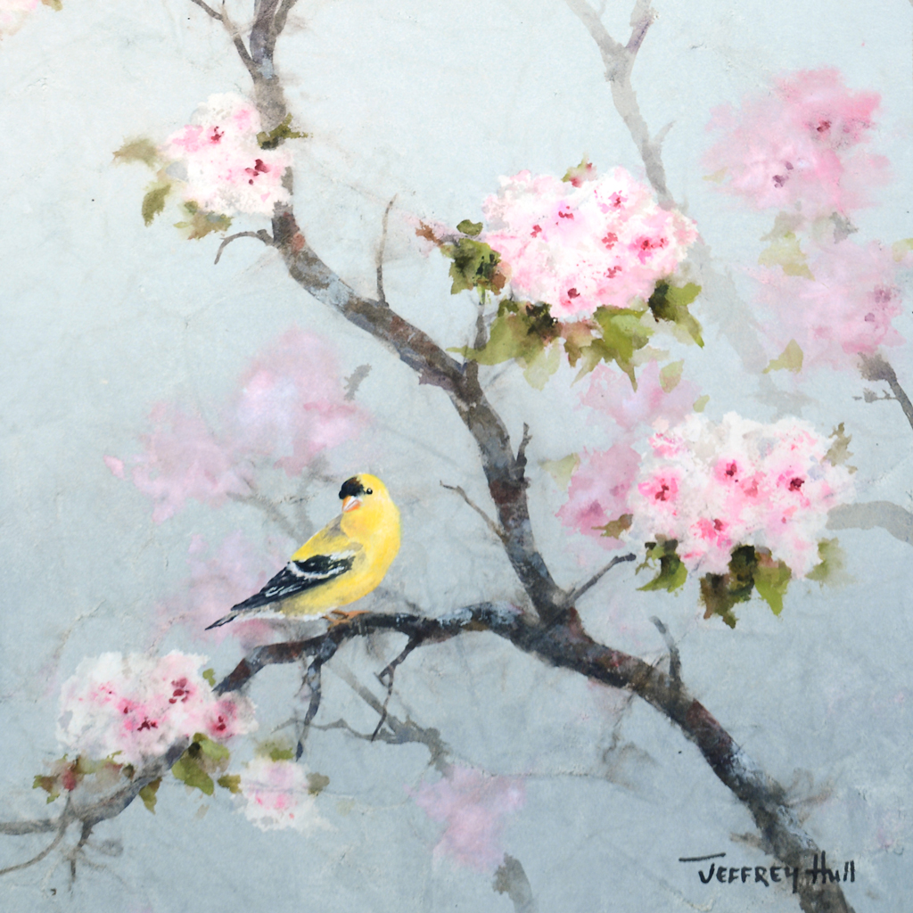 Goldfinch and Cherry Blossoms