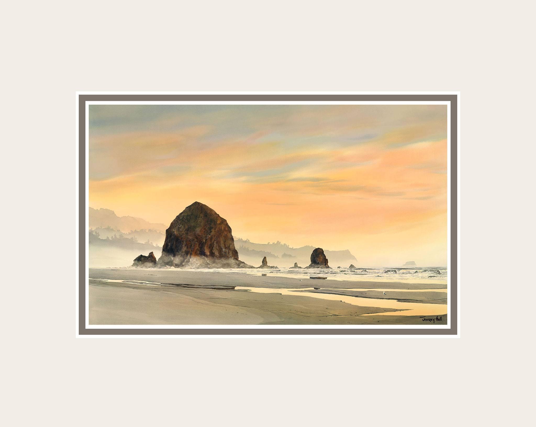 Haystack-Rock-Sunset-Mini-Unframed-Talc-Balmoral-4-Website-2021
