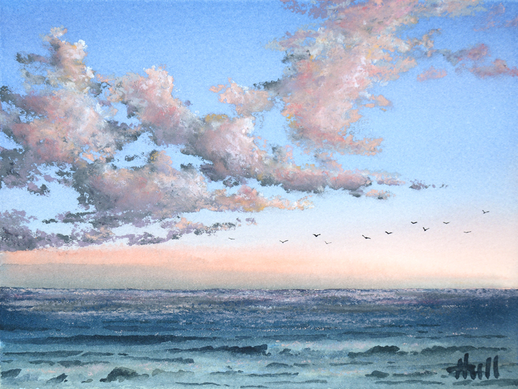 sunset clouds study the jeffrey hull gallery original paintings watercolors lithographs giclee cannon beach oregon sunset clouds study the jeffrey hull